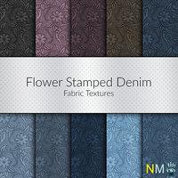 Flower Stamped Denim Fabrics 10 Seamless Textures