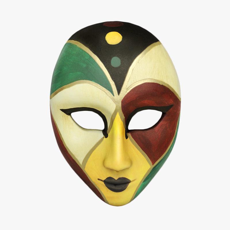3d mask carnival clay model