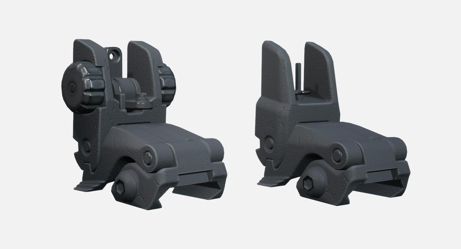 3D adjustable folding iron sights model