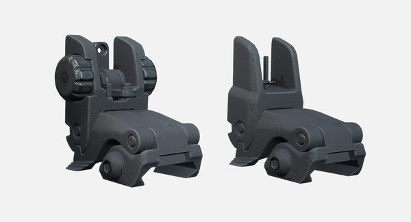 3D adjustable folding iron sights model
