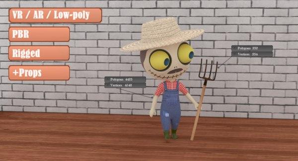 cute zombie wooden doll 3D model