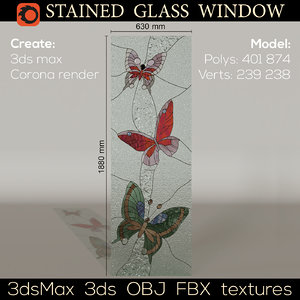 stained-glass window butterfly 3D model