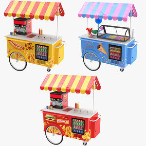 3D hot dog cart model