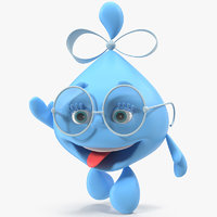 water drop cartoon lady character 3D model
