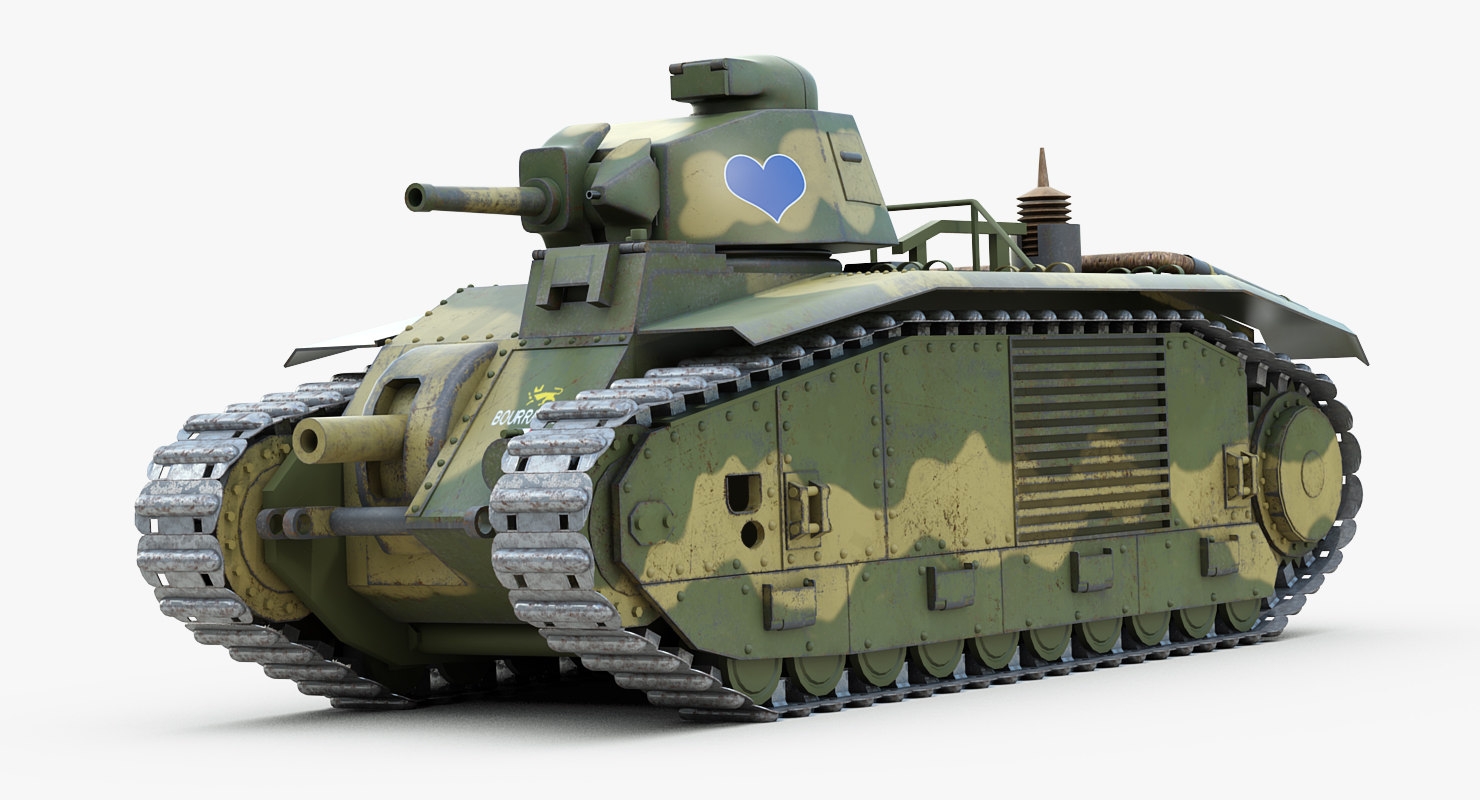 ww2 heavy tank char 3d model