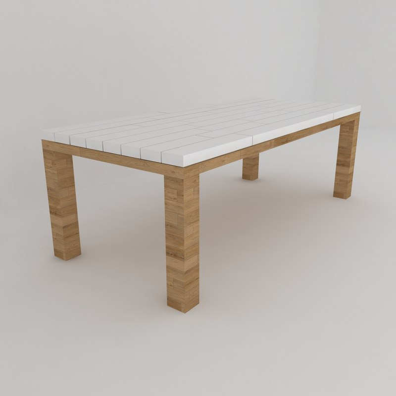 classic garden dining table 3D model
