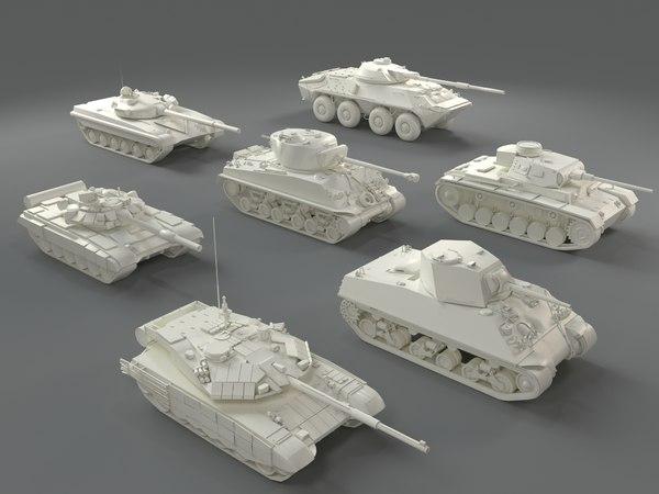 tanks - 7 pieces 3D