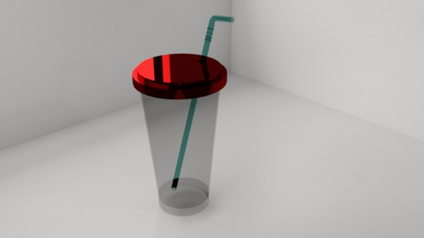 plastic cup topper straw 3D model