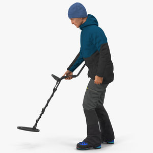 3D model man metal detector rigged