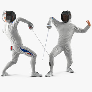 olympic men fencer rigged model