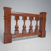 3D model wood balustrade