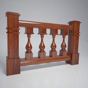 3D model wood balustrade