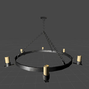 3D medieval chandelier model