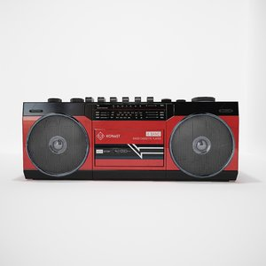 3D boombox retro low-poly vr