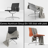 Vitra Eames Aluminum Group EA 108 leather chair from Charles & Ray Eames with plaid