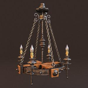 3D forged chandelier 1 lights model