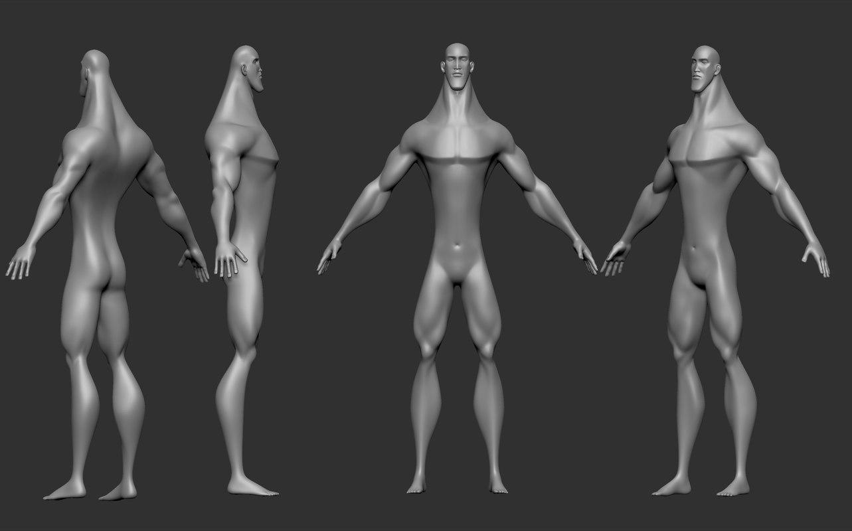 3D base mesh stylized man model