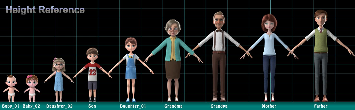 family 3d collection rigged height reference
