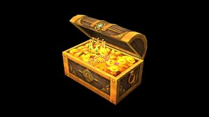 3D treasure box low-poly vr