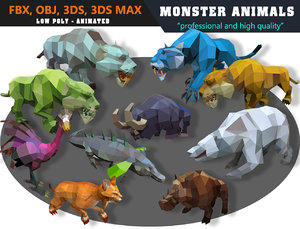 3D model animals cartoon monster