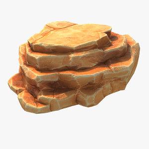 blocky cliff 3D model