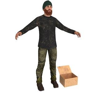 3D beggar man
