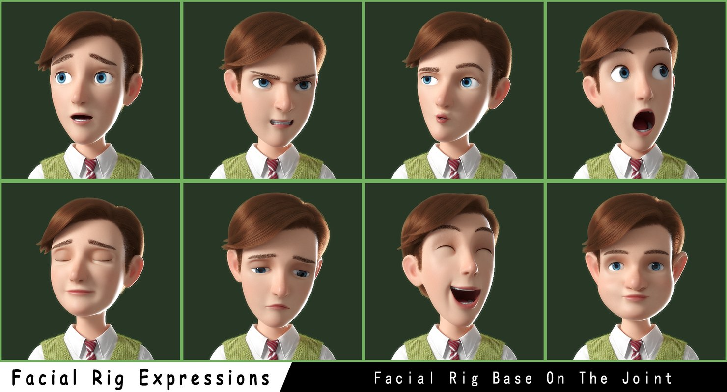 facial expressions male cartoon character 3d model rigged
