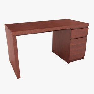 realistic ikea malm desk 3D model