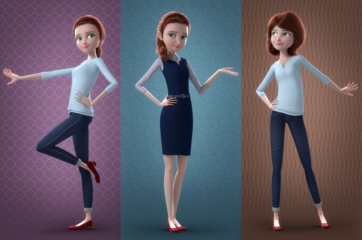 woman 3d model rigged