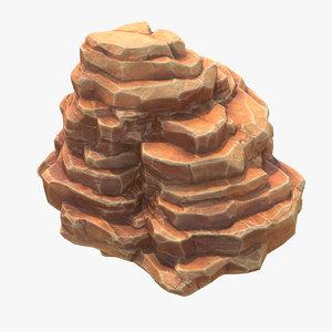 3D blocky mountain