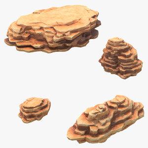 3D blocky cliffs set