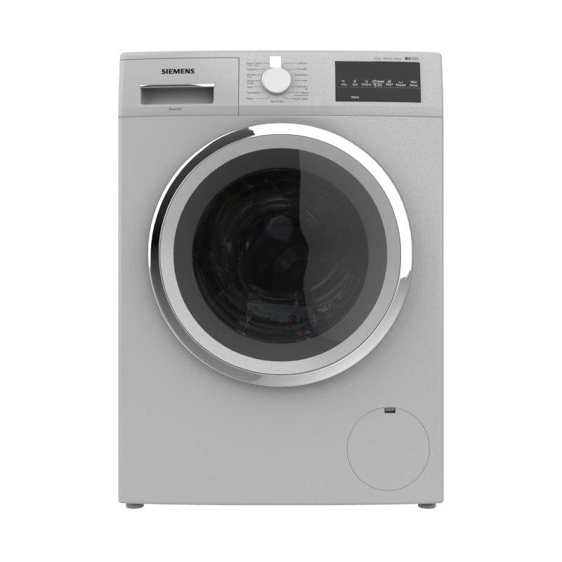 washing machine load silver 3D model