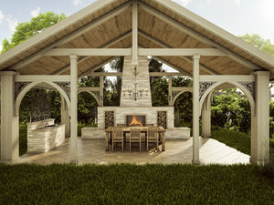 3D wooden patio