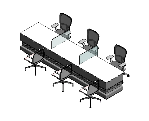 3D model office table adjustable chairs