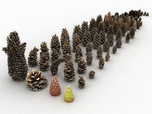 3D mega conifer cone pack model