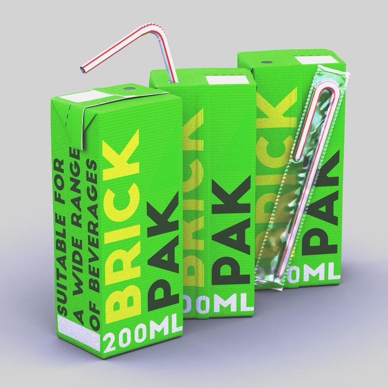 3D 200ml box straw model