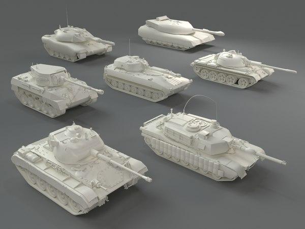 tanks - 7 pieces 3D model