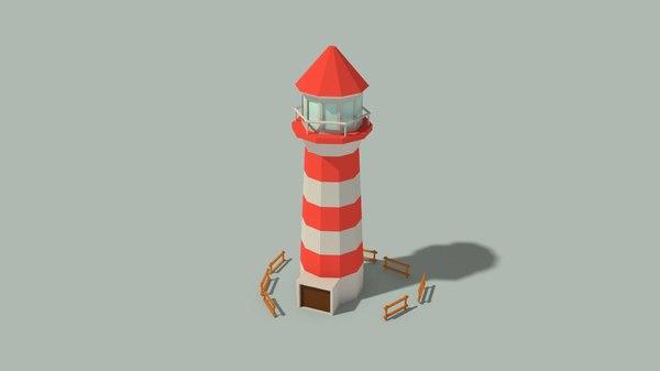 lighthouse wooden fences 3D