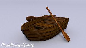 wooden boat oars 3D model