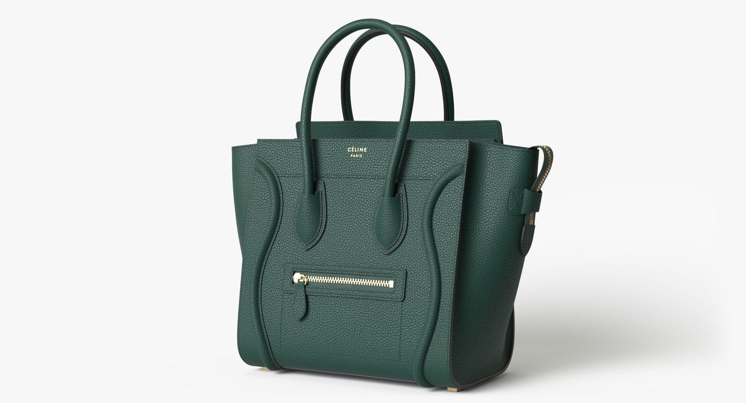 c5e117490713 3D celine luggage handbag dark green - TurboSquid 1319299