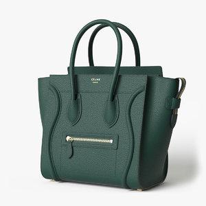 3D celine luggage handbag dark green