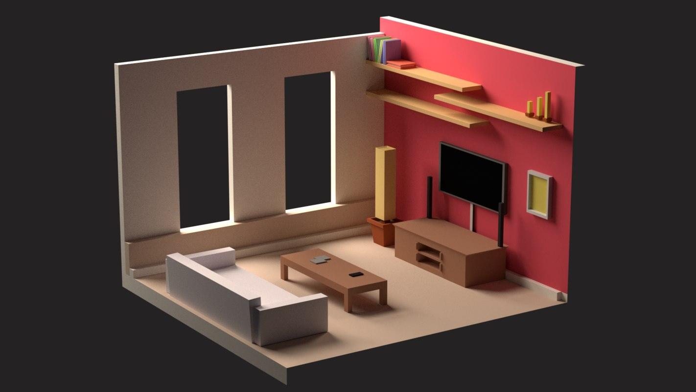 lovely living room 3d model | Living room 3D model - TurboSquid 1319344