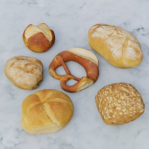 3D photoscanned german bread rolls
