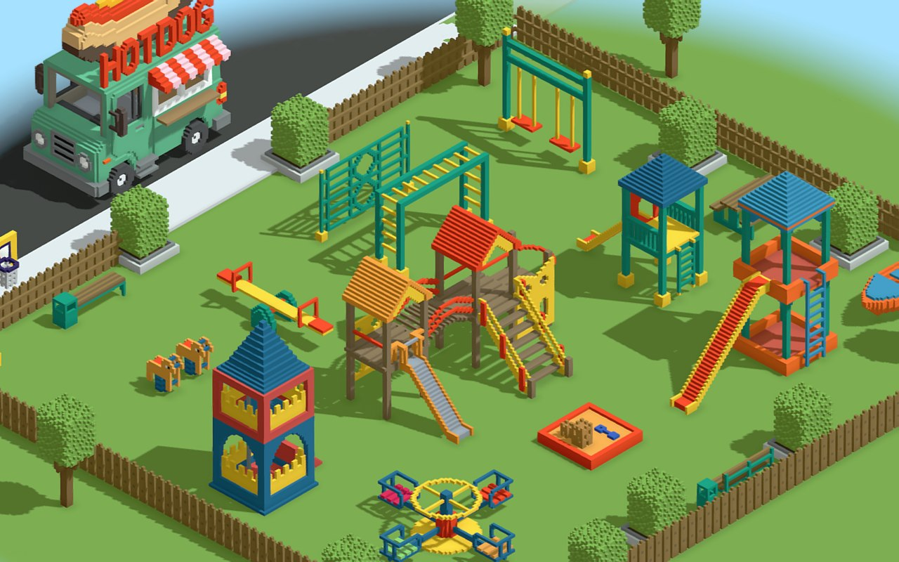 kids playground games voxel 3D model