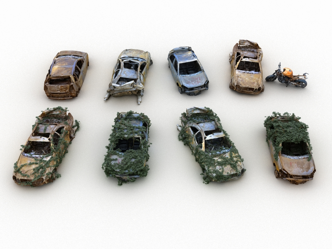 apocalyptic car wreck pack 3D model