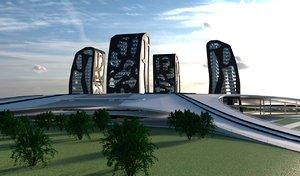 3D model island skyscrapers buildings