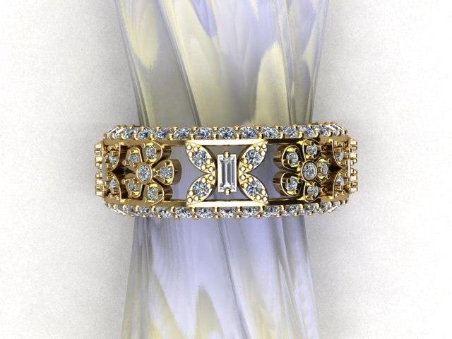 fancy ring flowers butterflies 3D model
