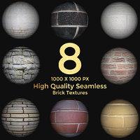 8 High Quality Seamless Brick Texture Maps