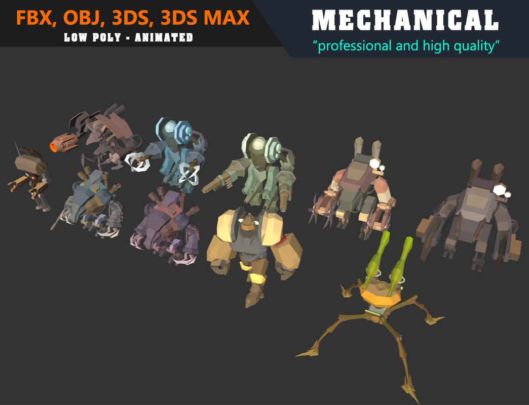 Low Poly Mechanical Mech Collection 01 - Animated