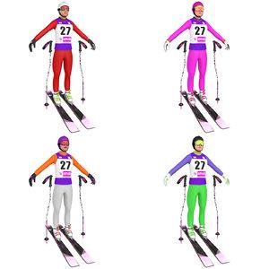 pack female skier woman 3D model